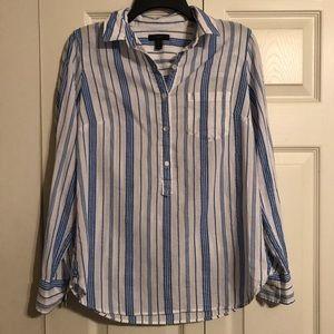 J CREW Size 2 Women's Shirt Top Blouse Blue White